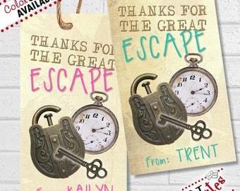 Escape Room Party, Escape Room Thank You Tags, Escape Room Birthday Party Favor Tags, Escape Room Favor Tag, Escape Room Labels | PRINTABLE