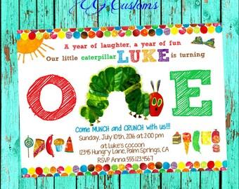 Very Hungry Caterpillar Birthday Invitation. Very Hungry Caterpillar First Birthday. Very Hungry Caterpillar Invitation