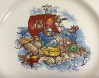 "Bunnykins Plate, ""Rafting"" 7 1/2"" Royal Doulton Child's Plate"