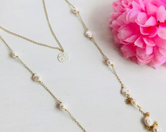 Pearls necklace, long pearl necklace, long pearl necklace, pearl necklace, double pearl necklace, elegant pearl necklace