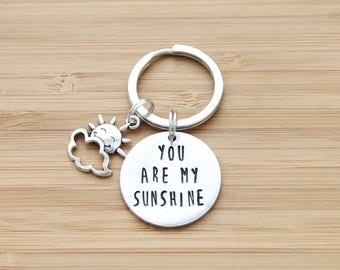hand stamped keychain | you are my sunshine