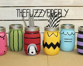 Set 6 Original Inspired Charlie Brown Mason Jar Centerpieces, Decoration,  Snoopy Baby Shower Decor