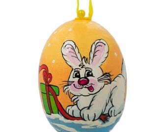 "3"" Bunny with Gift Wooden Christmas Ornament"