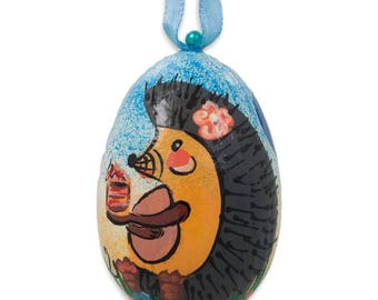 """3"""" Hedgehog with Balloons Wooden Christmas Ornament"""