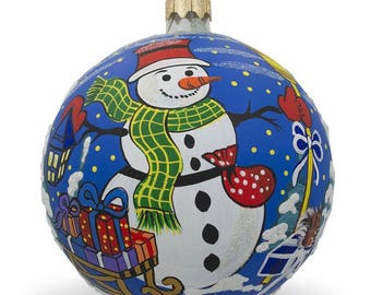 """4"""" Snowman and Gifts Glass Ball Christmas Ornament"""
