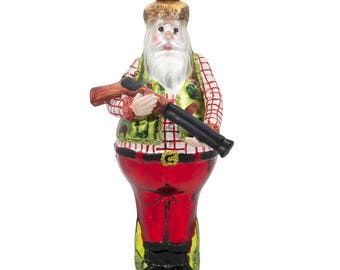 "5.5"" Lumberjack Hunter Santa with Rifle Glass Christmas Ornament"
