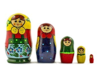 4'' Set of 5 Babushka in Yellow Scarf Russian Nesting Dolls