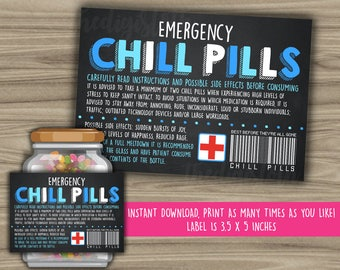 Chill Pills Printable Chalkboard Label - Funny Gift - INSTANT DOWNLOAD - Christmas Gift For Boss - CoWorker - Work Office Gag Gift - PL01