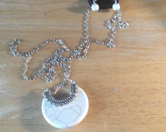 Mesa Moon Long Chain Silver Necklace with white moon shaped pendant and round earrings - Paparazzi