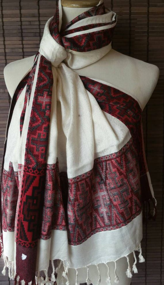 Ivory Pashmina scarf, silk blend shawl, pashmina scarf, Ethnic Scarf, Party Scarf, Unique Scarf, xmas gift for her, plaid blanket scarf