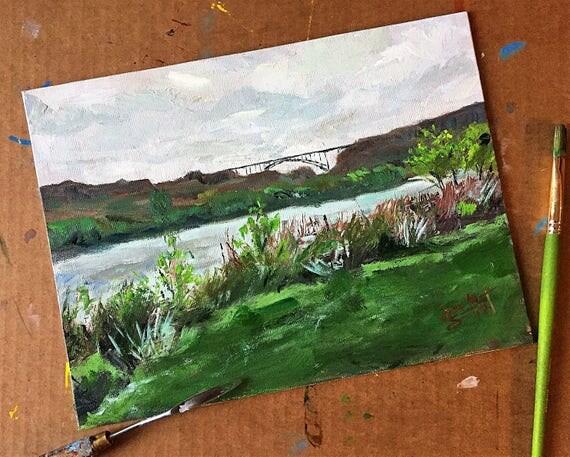 """Perrine Bridge, Twin Falls, ID - 9""""x12"""" - Acrylic on Panel"""