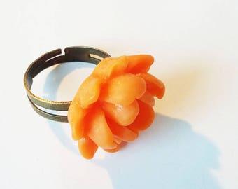 Resin cabochon Adjustable ring ♥ - ♥-orange flower