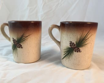 Pair of  pinecone mug | Rocky Mountain Pottery Factory | 1970's | Coffee cup | Colorado | vintage |