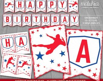 American Ninja Warrior Birthday Banner - INSTANT DOWNLOAD - Ninja Warrior Digital Printable - American Ninja Warrior Happy Birthday Pennant