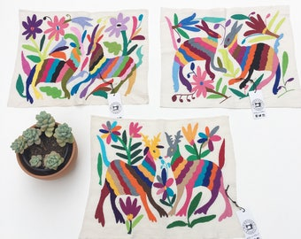 Multi-color Otomi Mexican Embroidered Textile. Mexican Tenango, Casual Style, Hand-embroidery on Ivory Cotton