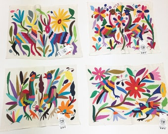 Multi-color Otomi Mexican Embroidered Textile. Casual Style, Hand-embroidery on Ivory Cotton