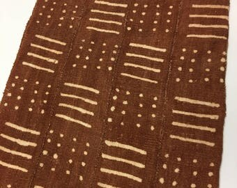Mud Cloth,Rust colro, Pre-washed, Tribal Print, Hand Crafted, Bogolanfini Textile
