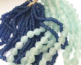Sea glass Glass Beads Diamond Shape! from Africa, Soft Sea glass Green Color Hand Made of Recycled Glass