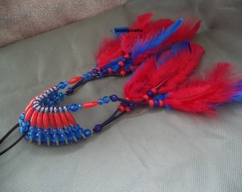 Car Accessories for men, Safety pin headdress ,Beaded car charm, Rear view mirror charm,Car mirror charm, Blue and red  car charm
