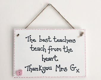 Best Teacher handmade wooden gift plaque