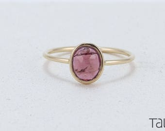Yellow Gold Ring, Stone Gold Ring, Pink Tourmaline, Unique Color, Coloured Gem, 14k Solid Gold, Alternative Engagement ring, Special Jewelry