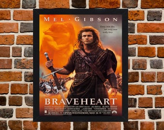 Framed Braveheart Mel Gibson William Wallace Movie / Film Poster A3 Size Mounted In Black Or White