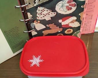 Vintage Tupperware Christmas Snowflake Container, Red Tupperware Canister, Rectangle Tupperware, Small Tupperware Canister