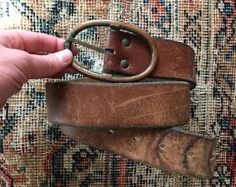 Vintage brown leather belt / thick wide 70s distressed leather belt / women's boho bohemian belt / men's belt