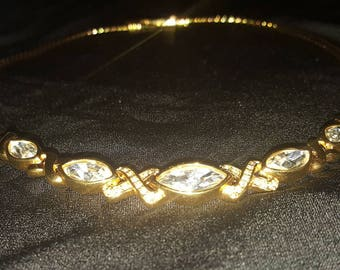 Vintage gold tone rhinestones xoxo necklace signed sal