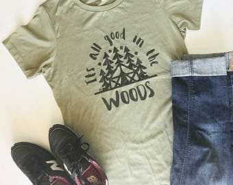 Junior fit It's All Good in the Woods light olive tee