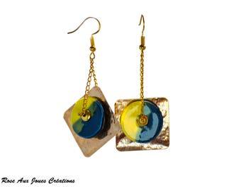 Earrings original yellow and Blue ceramic bead