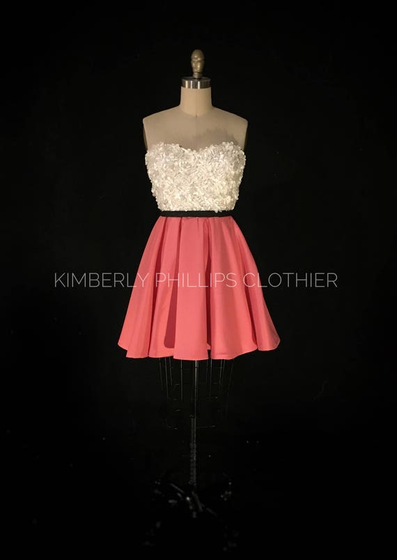 Sample Sale-Reduced Price- lace and satin Satin Bridesmaid, Ivory Floral Bodice, Full Coral Skirt