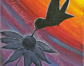 Sunset Silhouette ~ Orginal Acrylic Painting Art Print ~ Last drops of summer...