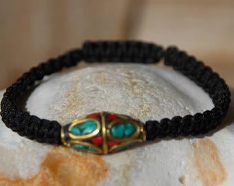 ethnic Tibetan turquoise and coral Bead Bracelet