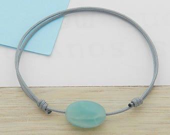 Blue-gray cord with Amazonite stone bracelet