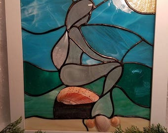 Stained Glass Mermaid Panel with Seashells, beach and coastal decor