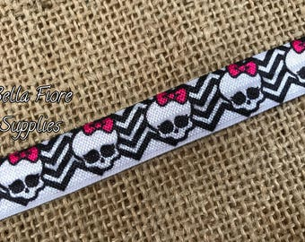 Skull Fold Over Elastic- Skull FOE- Crossbones elastic- Halloween FOE- Wholesale- DIY Headband-