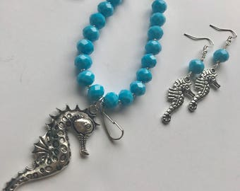 Sea Horse Necklace Lanyard Earring Set, Cruise, Beach, Ocean, Tropical Inspired Jewelry Set, Long Necklace with No Clasp.