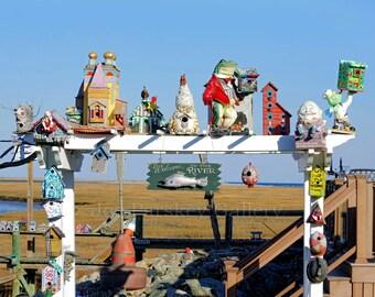 Whimsical birdhouses, Damon's Point, Marshfield, MA, North River, South Shore, cottage decor, beach decor, coastal, archival, signed print