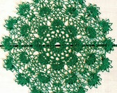 14 inch Doily, Handmade Crochet Doily, Green Round Tablecloth, Housewarming Gift, Gift for Her, Green Table Setting, Bright Summer Doily