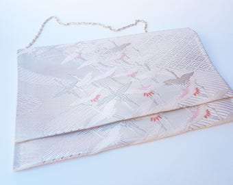 Rose Gold Kimono Clutch Bag / Japanese Hand Bag / Obi Clutch Bag / Silk Bag