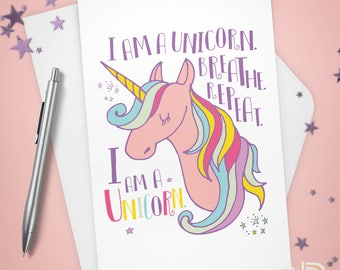 Greeting Card, I am a Unicorn, Stationery, Note Card, Whimsy, Inspirational, Thinking of You, Encouragement, Watercolor