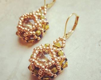 Champaign swarovski crystal earrings