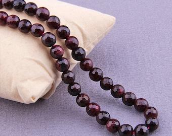 """6mm Garnet Beads , Faceted Garnet Beads Round , Natural Garnet Beads , Gemstone Beads , Genuine Garnet Beads , 15.5"""" Full Strand"""