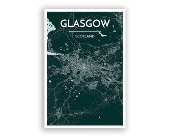 GLASGOW, Scotland, City Map Print // modern minimalist art design home office decor, map part, map poster, any custom city print