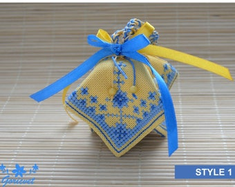 Cute gift for hostess embroidered gift holiday decor bell home decoration kids room rustic decor yellow blue easter decoration bell handmade