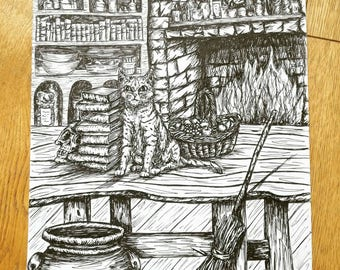 The Witches Cat, Original Pen and Ink Illustration
