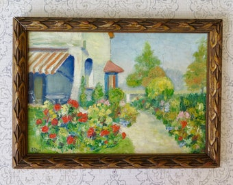 Painting by A. Colaux, Garden and Flowers Signed Dated and Framed Provencal Garden Oil on Board, 1920s