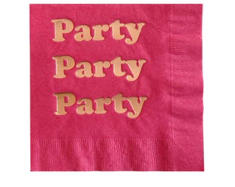 Hot Pink Party Foil Napkins - Rose gold copper foil paper - Birthday Party wedding shower baby shower engagement first bright pink princess