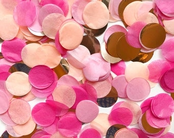"""Tissue Paper Confetti - Hot Pink, Peach, Pastel Pink, Copper - rose gold confetti - balloon 1"""" round gender reveal princess party circle"""